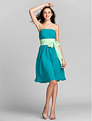 A-Line Strapless Knee Length Chiffon Bridesmaid Dress with Sash / Ribbon by LAN TING BRIDE®