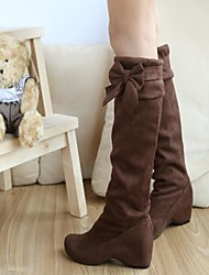 Women's Shoes Faux Suede Spring Fall Winter Wedge Heel Knee High Boots Bowknot For Dress Black Brown Beige Yellow