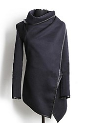 gola alta casaco de lã asym bainha das mulheres