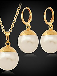 cheap -Pearl Pearl / Imitation Pearl / Gold Plated Jewelry Set Earrings / Necklace - Birthstones Jewelry Set For Wedding / Party / Daily