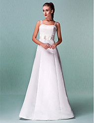 cheap -A-Line Straps Floor Length Satin Wedding Dress with Sash / Ribbon by LAN TING BRIDE®