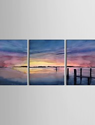 cheap -Oil Painting Hand Painted - Landscape Canvas Three Panels