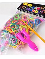 Недорогие -600pcs DIY цвета радуги ткацкий станок стиль резина / силиконовый ремешок браслетов 300pcs полосы, 24 красочных S-клипы, 1 ткацкие станки, 1hook