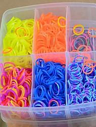 3000pcs pulseiras estilo tear silicone coloridas DIY cores do arco-íris (3000pcs bandas, uma teares, um gancho + 1box