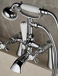 laiton de style anglais contemporain trous doubles double croix gère salle de bains baignoire robinet de douche avec douche à main (piliers)