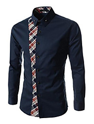 abordables -Men's Fashion Leisure Code Splicing Sleeved Shirt