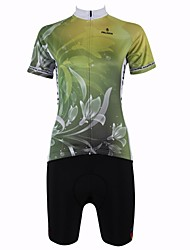 cheap -ILPALADINO Women's Short Sleeves Cycling Jersey with Shorts - Mineral Green Bike Shorts Jersey Clothing Suits, Quick Dry, Breathable