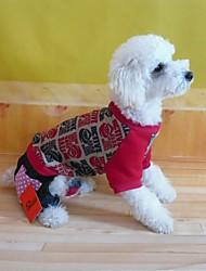 baratos -Casacos - Inverno - Vermelho Algodão / Terylene - para Cães - XS / S / M / L / XL