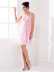 A-Line One Shoulder Knee Length Chiffon Bridesmaid Dress with Side Draping Criss Cross Ruching by LAN TING BRIDE®