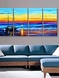 cheap -Stretched Canvas Art Beautiful Harbour Landscape Painting Set of 4