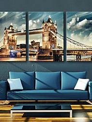 cheap -Stretched Canvas Print Architecture Three Panels Vertical Print Wall Decor Home Decoration