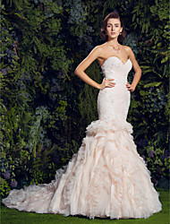 cheap -Mermaid / Trumpet Sweetheart Neckline Court Train Tulle / Corded Lace Made-To-Measure Wedding Dresses with Sequin / Appliques / Cascading Ruffles by LAN TING BRIDE® / Wedding Dress in Color