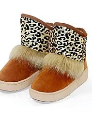 Women's Fall Winter Comfort Snow Boots Casual Flat Heel Animal Print Brown Pink Beige