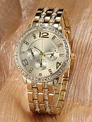 baratos -Homens / Mulheres / Unisexo Relógio de Bolso / Relógio de Pulso Japanês imitação de diamante Lega Banda Brilhante / Fashion / Relógio Elegante Dourada