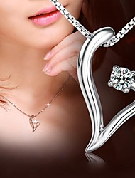 abordables -Personalized Gift 925 Silver Heart Shape Pendant Necklace LIWUYOU™