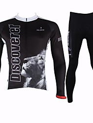 cheap -ILPALADINO Men's Long Sleeves Cycling Jersey with Tights - Black Cartoon Animal Bike Clothing Suits, Quick Dry, Breathable