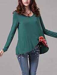 T-shirt Da donna Casual Semplice Autunno,Ricamato Rotonda Altro Blu / Rosso / Verde Manica lunga Sottile