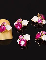 preiswerte -5pcs 3d rose red Zirkon-Legierung Nagelkunstdekorationen Nail-Art Schmuck