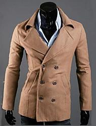 Manteau Pour des hommes Couleur plaine Décontracté Manches longues Coton / Mélange de Coton Noir / Gris