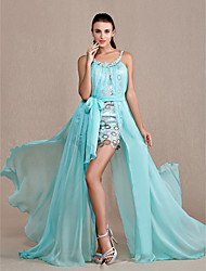 A-Line Princess Scoop Neck Floor Length Chiffon Lace Prom Formal Evening Military Ball Dress with Appliques Sash / Ribbon by TS Couture®