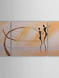 cheap -Hand-Painted Abstract / People Three Panels Canvas Oil Painting For Home Decoration