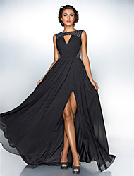 A-Line Jewel Neck Sweep / Brush Train Chiffon Sequined Evening Dress by TS Couture®