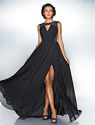 Una línea de joya de cuello de barrido / cepillo tren de gasa vestido de noche de lentejuelas por ts couture ®