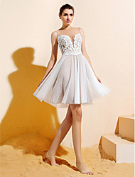 A-Line Bateau Neck Knee Length Lace Tulle Bridesmaid Dress with Appliques Buttons by LAN TING BRIDE®