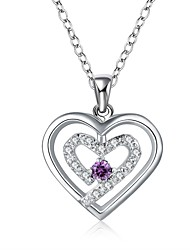 cheap -Cubic Zirconia - Sterling Silver, Cubic Zirconia Princess, Heart Purple, Red, Blue Necklace For Wedding, Party, Special Occasion / Anniversary / Birthday / Engagement / Gift / Daily