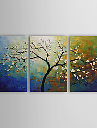 cheap -Hand-Painted Floral/Botanical Three Panels Canvas Oil Painting For Home Decoration