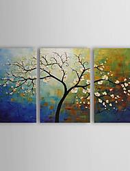 Недорогие -Ручная роспись Цветочные мотивы/ботанический 3 панели Холст Hang-роспись маслом For Украшение дома
