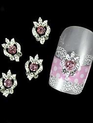 10pcs rose strass alliage d'argent bricolage nail art décoration