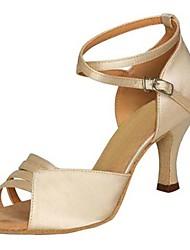 cheap -Women's Latin Shoes Satin Sandal Buckle Stiletto Heel Non Customizable Dance Shoes Grey / Red / Brown