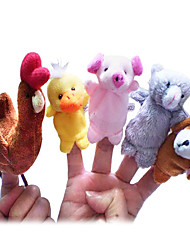 cheap -5PCS The Little Red Hen Story Plush Finger Puppets Kids Talk Prop