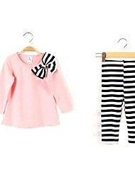 cheap -Girls' Striped Clothing Set Spring Fall Long Sleeves Stripes Dark Blue Pink