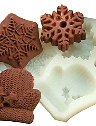 cheap -Christmas Gloves Snowflake Fondant Cake Chocolate Silicone Mold Cake Decoration Tools,L11.7cm*W11cm*H1.7cm