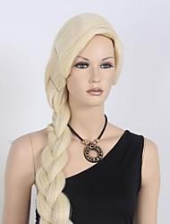 Cabelo Sintético perucas Reto Loiro Diário