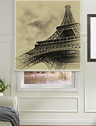 cheap -Classic Sketched Eiffel Tower Roller Shade