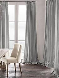 cheap -Two Panels Neutrals Solid Linen / Cotton Blend Panel