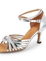 Damen Latin Kunstleder Sandalen Verschlussschnalle Maßgefertigter Absatz Schwarz-Splitter Schwarz Silber Braun Gold Maßfertigung