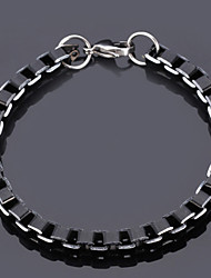 U7® Cool Black Box Chains Aluminium Alloy Bracelet Quality Jewelry 6MM