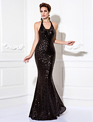 cheap -Sheath / Column Halter Floor Length Sequined Prom Formal Evening Black Tie Gala Dress with Pleats Sequins by TS Couture®