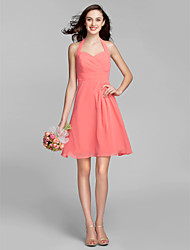 A-Line Halter Knee Length Georgette Bridesmaid Dress with Sash / Ribbon Side Draping by LAN TING BRIDE®