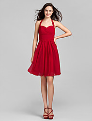 cheap -A-Line Halter Neck Knee Length Chiffon Bridesmaid Dress with Criss Cross / Ruched by LAN TING BRIDE® / Open Back