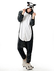 baratos -Pijamas Kigurumi Urso Guaxinim Pijamas Macacão Ocasiões Especiais Flanela Tosão Cinzento Cosplay Para Adulto Pijamas Animais desenho