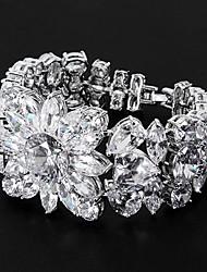 abordables -enchapado en platino plata con pulseras de circonio cúbico con forma floral-