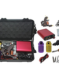 cheap -Tattoo Kit with Stainless Steel Tattoo Machine and Red Mini Power Supply