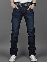 Men's Straight Dark Blue Jeans