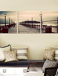 Недорогие -Растянутыми садово-паркового искусства Холст на мосту Набор из 3