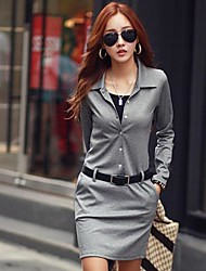 Women's Casual/Daily Sheath Dress,Solid Shirt Collar Above Knee Long Sleeve Black / Gray Cotton Spring / Fall / Winter